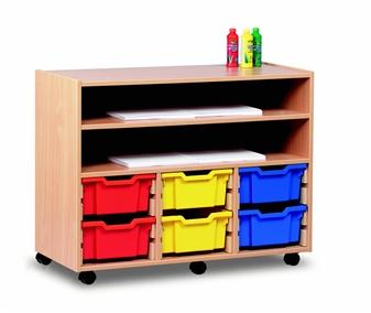 6 Deep Tray Wooden Shelf Storage Unit