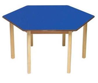 Blue Hexagonal Classroom Table