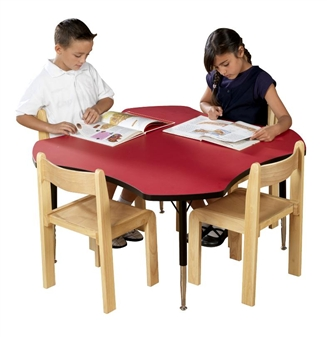 Height-Adjustable Clover Table - Red