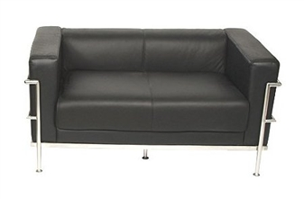 Leather/Chrome 2-Seater Reception Sofa