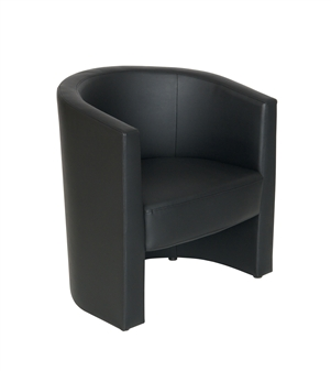 Tub Reception Chair In Black Leather