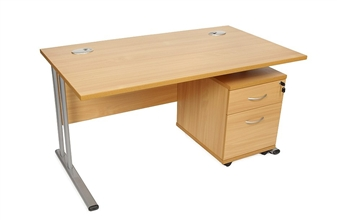Rectangular Beech Desk + Mobile Pedestal