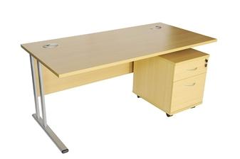 Rectangular Oak Desk + Mobile Pedestal