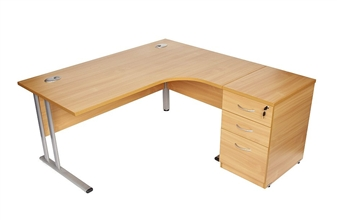 Beech Radial Desk (Right-Hand Return) With 600mm Deep Desk High Pedestal