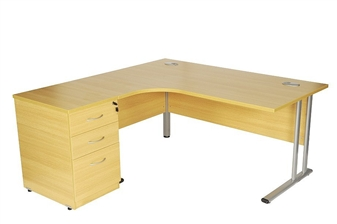 Oak Radial Desk (Left-Hand Return) With 600mm Deep Desk High Pedestal