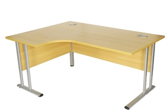 Oak Radial Desk (Left-Hand Return)