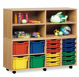 Wooden Classroom Combi Plastic Tray Storage Units