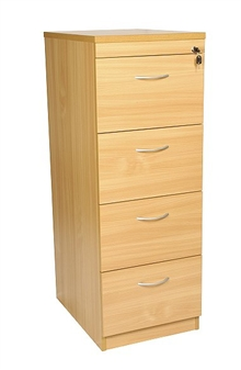 4-Drawer Filing Cabinet - Beech