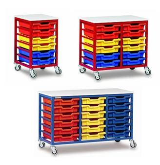 Low Metal Frame Mobile Plastic Tray Storage Units