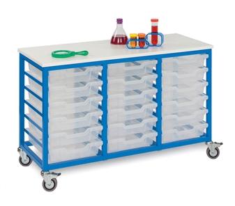 Low Metal Frame Mobile Storage Unit 18 Trays- Blue Frame