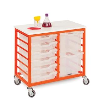 Low Metal Frame Mobile Storage Unit  12 Trays- Tangerine Frame