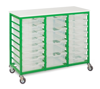 Low Metal Frame Mobile Storage Unit 24 Trays - Apple Green