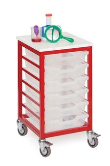 Low Metal Frame Mobile Storage Unit 6 Trays - Red Frame