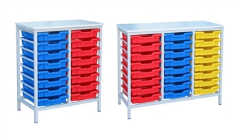 Low Metal Frame Static Plastic Tray Storage Units