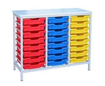 Low Metal Frame Static Storage Unit - 24 Trays White Frame