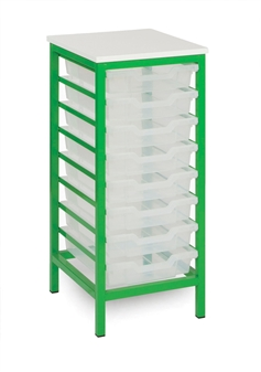 Low Metal Static Storage Unit 8 Trays Apple Green Frame