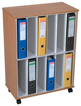 12 Section Lever Arch File Storage Unit - Mobile