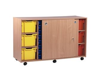 Wooden Sliding Door Unit - 16 Shallow & 6 Extra Deep Trays