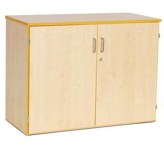 Coloured Edge Wooden Storage Cupboard 768mm High - Red Edging 2 Adjustable Shelves