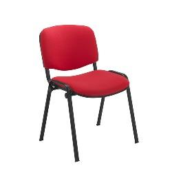 Red Fabric Stacking Chair Black Frame