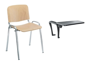 Wood / Chrome Chair With Plastic Writing Tablet
