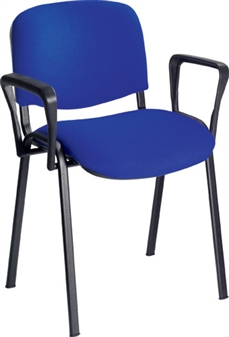 Fabric Stacking Chair With Arms - Black Frame