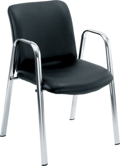 Leather Look Reception / Conference Chair + Arms