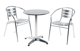Aluminium Cafe / Recreational Armchair With Aluminium Round Cafe Table