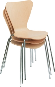 Beech Wooden Cafe / Bistro Chairs Stacked
