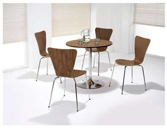 Walnut Wooden Cafe / Bistro Chairs With Walnut Trumpet Base Table