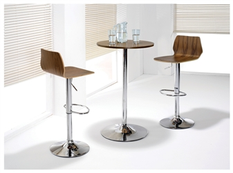 Beech Tall Wooden Cafe / Bistro Chairs With Walnut Tall Trumpet Base Cafe / Bistro Table