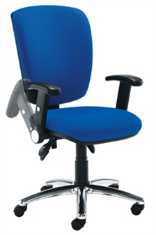 Deluxe Operator Chair - High Back + Chrome Base + Folding Arms