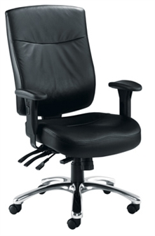 Endurance Square-Back Task Chair - Leather + Chrome Base