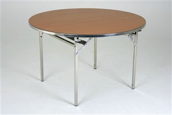 Heavy-Duty Lightweight Circular Folding Table - Oak