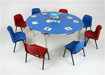 Heavy-Duty Lightweight Circular Folding Table - 1500 Dia - Blue Top