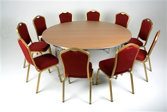 Large 6ft Diameter Heavy-Duty Lightweight Circular Folding Table With Chairs