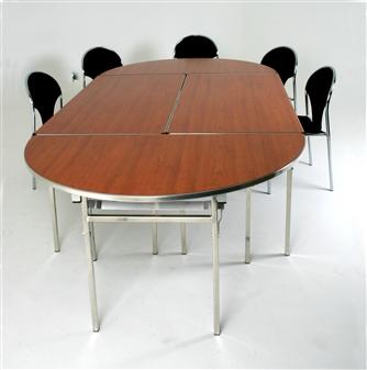 Heavy-Duty Lightweight Semi-Circular Folding Table - Cherry (Shown With Rectangular Tables)
