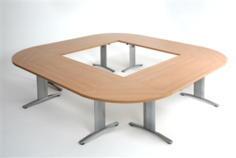 Rectangular Folding Meeting Tables With Rounded Segmental Links