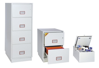 2 & 4-Drawer Fireproof Filing Cabinets Shown With Optional Data Protection Insert