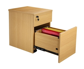 2-Drawer Mobile Pedestal (Oak)