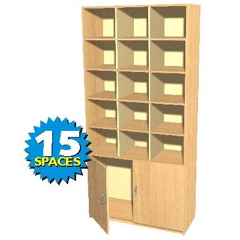 15 Space Double Height Pigeon Hole / Cupboard Unit