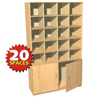 20 Space Double Height Pigeon Hole / Cupboard Unit