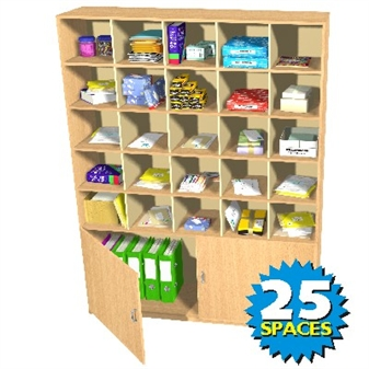 25 Space Double Height Pigeon Hole / Cupboard Unit
