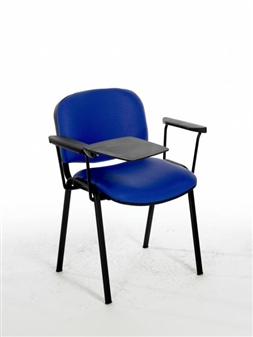 F1BAT Stacking Chair With Black Frame - Two Arms & Writing Tablet