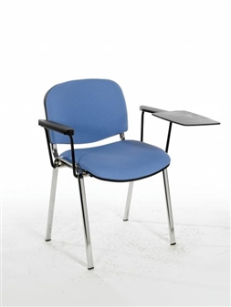 F1CAT Stacking Chair With Chrome Frame - Two Arms & Writing Tablet
