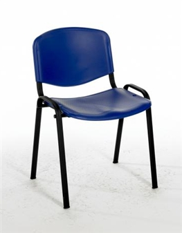 Flipper Plastic Stacking Chair - Blue With Black Frame