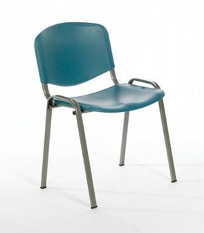 Flipper Plastic Stacking Chair - Green With Silver Frame