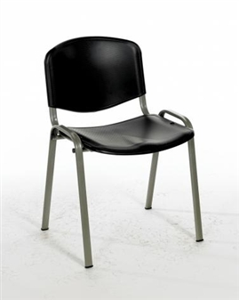 Flipper Plastic Stacking Chair - Black With Silver Frame