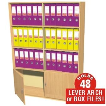 48 Box File Cupboard / Bookcase Storage Unit