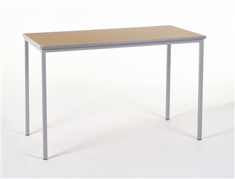 1200 x 600 Rectangular Spiral Stacking Classroom Table Light Grey Frame Beech Top Light Grey PVC Edge